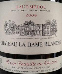 Etiquette de bouteille de vin : Chateau La Dame Blanche 2008